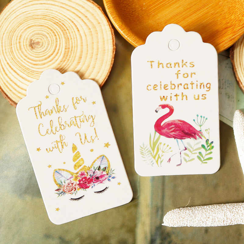 50pcs Paper Gift Tags Thank You Flamingo Unicorn Party Decoration Paper Hang Tag Wedding Gift Box Paper Cards DIY Handmade Label