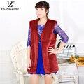 HOGZUO Women Wine Color Faux Fur Vest Coat Plus Size Female Fashion Slim Fur Jacket Overcoat Faux Snow Rabbit Fur Vest PC124