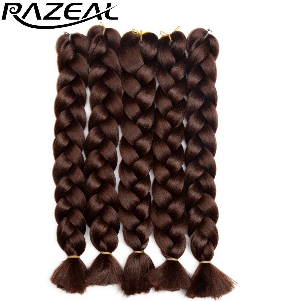 Razeal 18inch სუფთა ფერის Jumbo ლენტები თმის სამაგრების ძაფები გამოხატვის სინთეზური ლენტები თმის 1 ცალი / ლოტი