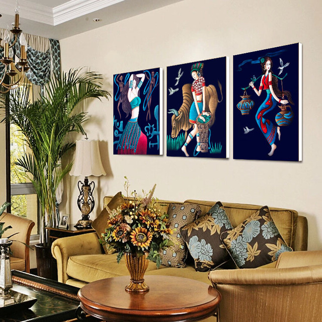 National Style Decorative Painting Oil Paintings Chinese Retro Dining Room Bedroom Wall Mural Figure Frameless