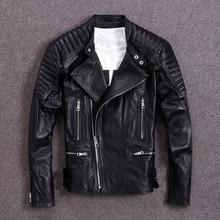 Бесплатная доставка. Модная тонкая байкерская куртка из натуральной кожи, брендовые новые мужские мягкие куртки из овчины больших размеров, куртки в моторном стиле, распродажа