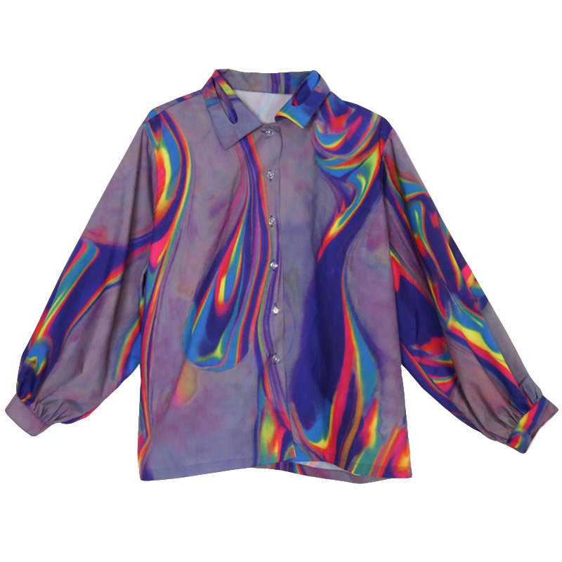 Harajuku Shirt Laser Dreamy Color Printing Loose Women Shirt Retro Long-Sleeved Blouses Female