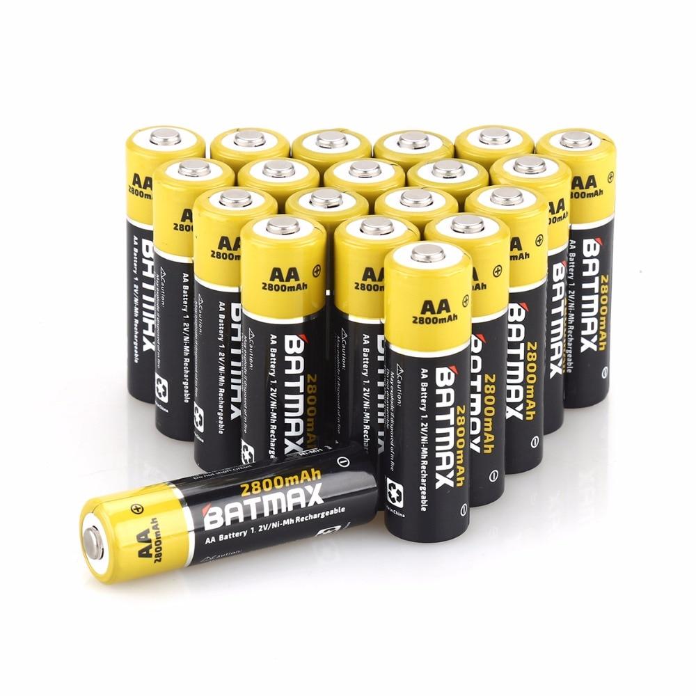 20-Pack de Alta-Capacidade de 2800 mAh Baterias Recarregáveis AA NiMH