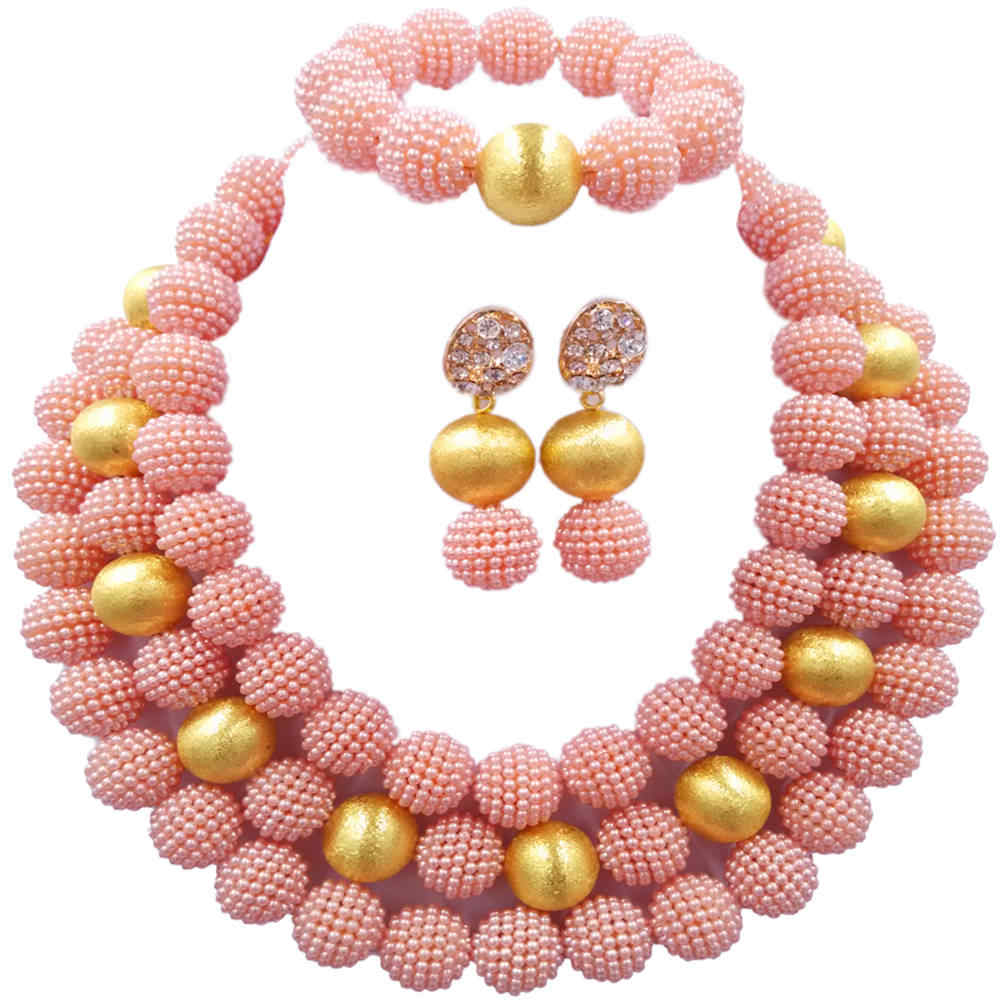 Fashion Peach Simulated Pearl Necklace Nigerian Wedding African Beads Jewelry Set for Women 3ZJL11