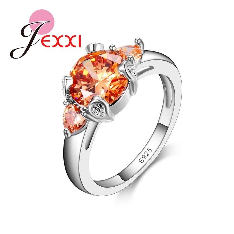 JEXXI модные Юбилей кольца для Для женщин Винтаж оранжевый CZ Кристалл 925 Серебряная св ...