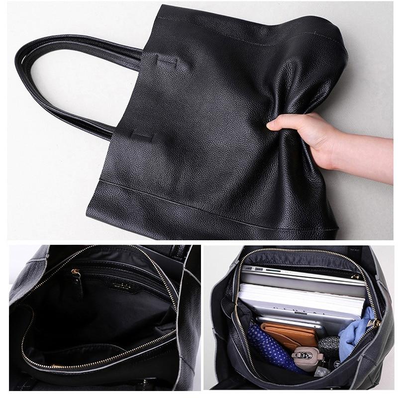 Image 2 - Genuine Leather Bag Women Casual Tote Female Luxury Simple  Fashion Handbag Lady Cowhide Leather Daily Use Shoulder Shopping Bagbag  fbag fashionf bag