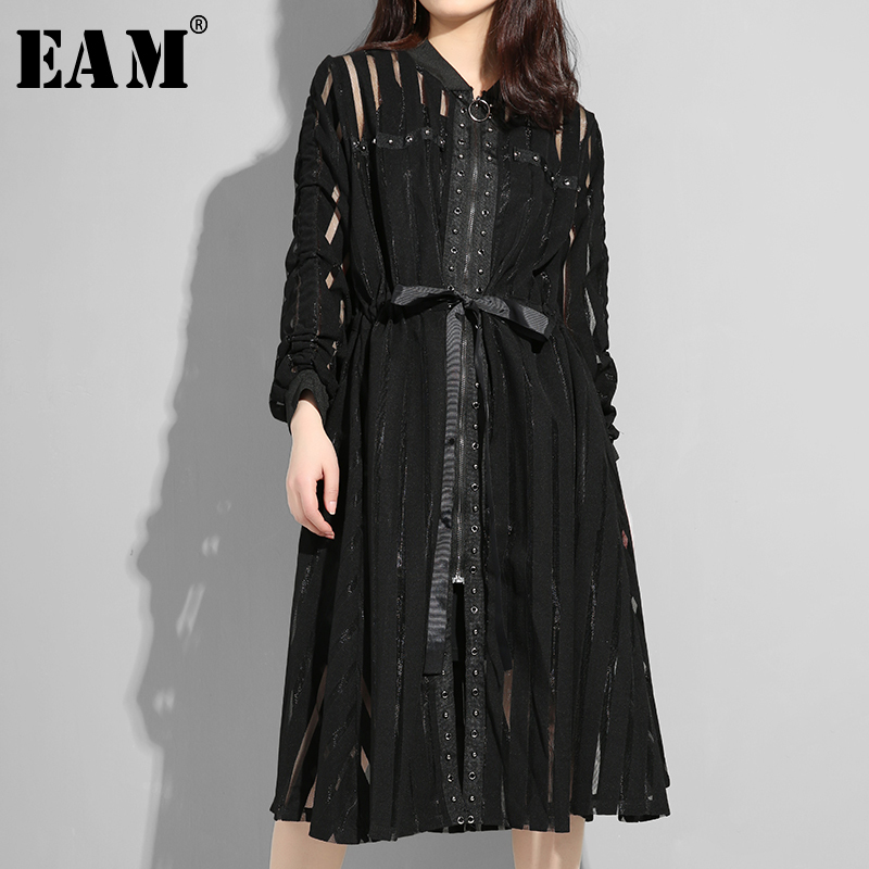 [EAM] 2020 New Spring Autumn Stand Collar Long Sleeve Black Striped Perspective Zipper Loose Dress Women Fashion Tide JS958