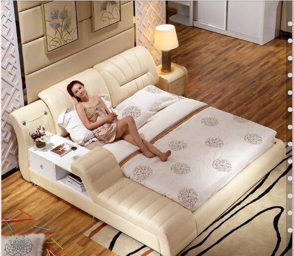 € 1062.08 |Meubles de chambre à coucher modernes hamac en cuir véritable  souple pour lit 6219 dans Lits de Meubles sur AliExpress.com | Alibaba Group