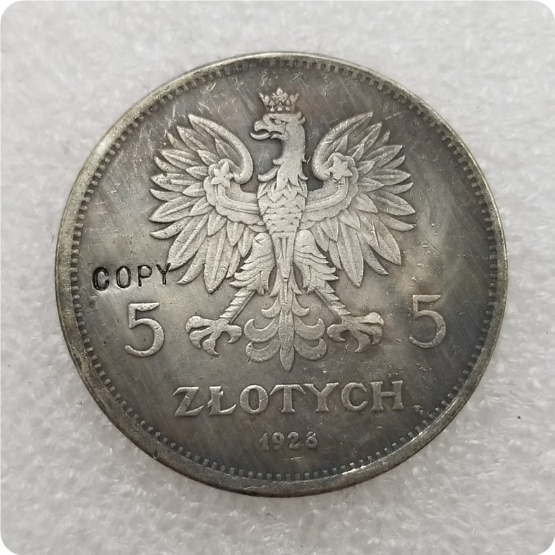 Памятные монеты, копия драгоценных монет 1928-poland-5-zloэтих