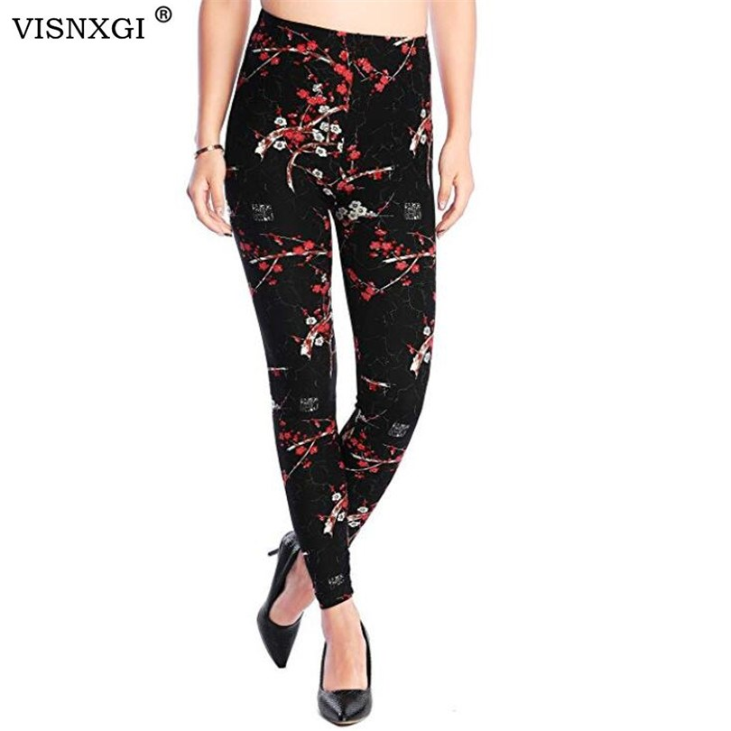 Nuevo 2019 leggings con estampado floral Leggins de talla grande Leggins guitarra Plaid fina nueve pantalones moda mujer ropa pantalones aptude