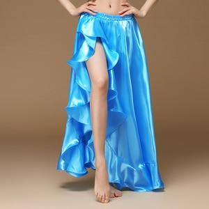 Image 5 - Женская Длинная атласная юбка для танца живота, профессиональная сексуальная юбка для восточных танцев, 2020