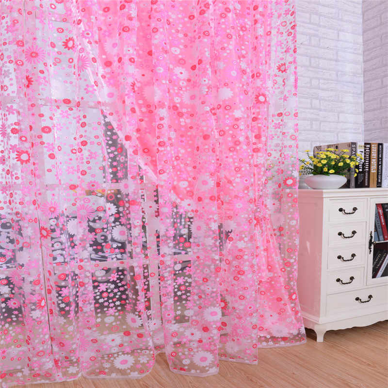 Print Floral Voile Door Curtain Window Room Curtain Divider Scarf   roller blinds  x30413