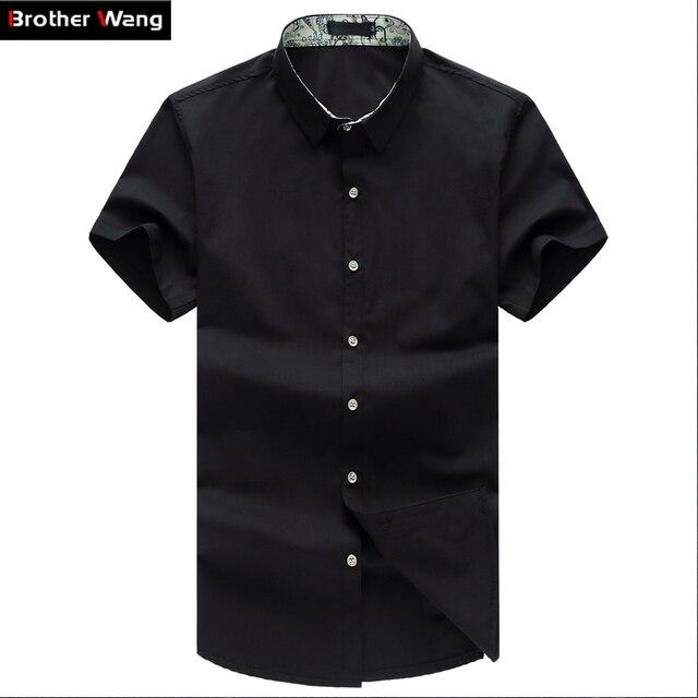 Chemise dété légère à manches courtes pour hommes, vêtement de marque, couleur unie, noir, blanc, marine, pour Business chemise de grande taille
