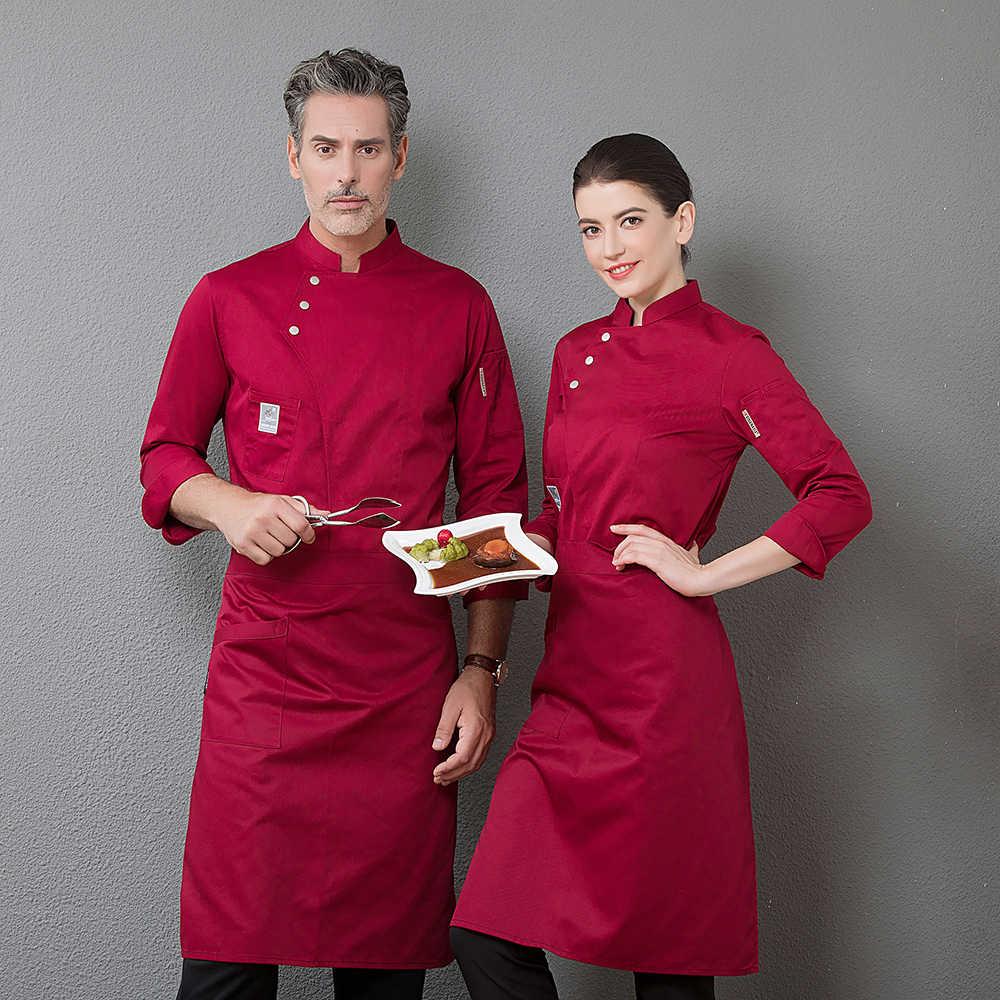 Profesjonalna restauracja Top Chef Uniform Unisex LongSleeve gospodyni kucharz nosić kurtka kuchnia kuchnia piekarnia Cafe Hotel kombinezony