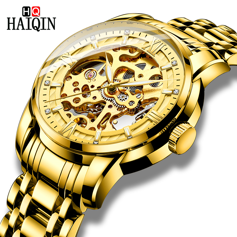 HAIQIN Automatic Mechanical Mens Watches Unique Skeleton Gold Wristwatch Waterproof Full Stainless Steel Watch Men reloj hombreHAIQIN Automatic Mechanical Mens Watches Unique Skeleton Gold Wristwatch Waterproof Full Stainless Steel Watch Men reloj hombre