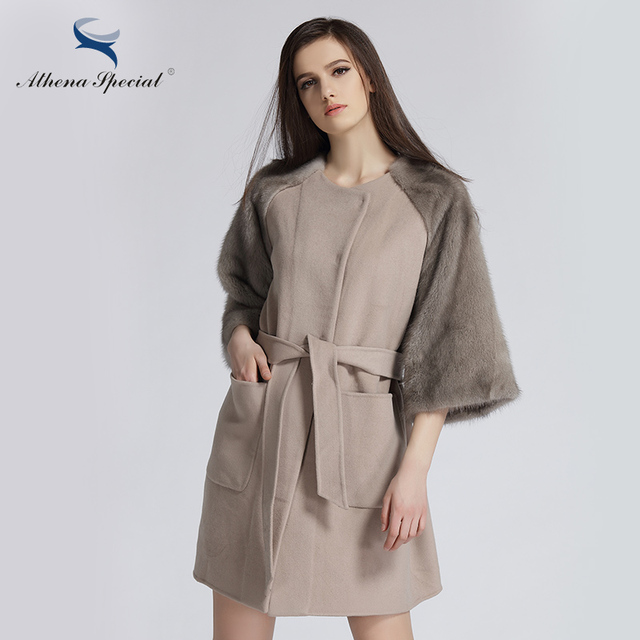 Athena Special 2018 New Design Women Mink Coat Real Cashmere Jacket Parkas Winter Fashion Mink And Wool Coat For Girl's