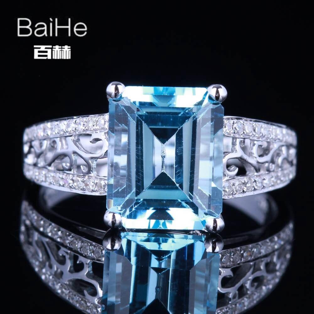 BAIHE solide 14K or blanc (AU585) 3.24CT certifié émeraude impeccable véritable bleu ciel topaze mariage femmes à la mode Fine bijou anneau