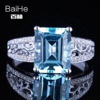 Baihe SOLID 14 К из белого золота (au585) 3.24ct Сертифицированный Изумрудный безупречной натуральной голубой топаз свадебное Для женщин Мода изысканн...