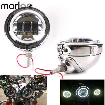 Motorcycle Accessories 4 1/2 4.5 Inch Fog Passing Light White DRL Halo Ring With Housing bucket Bracket Ring Set