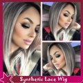 Fast Shipping Black to Grey Ombre Silky Straight Synthetic Lace Front Wig Short Bob Heat Resistant Short Wigs For Black Women