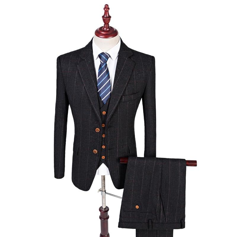 Wool Black Herringbone Tweed Tailor Slim Fit Wedding Suits For Men Retro Gentleman Style Custom Made Mens 3 Piece Suit ...