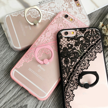 Sexy Black Pink Lace Floral Pattern Case For iPhone 7 Plus 6 6s Plus Ring Hard