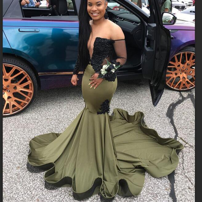 Long Olive Green Mermaid Prom Dresses 2020 Gorgeous Boat Neck Beaded Black Lace Long Sleeve Africa Black Girl Prom Dress