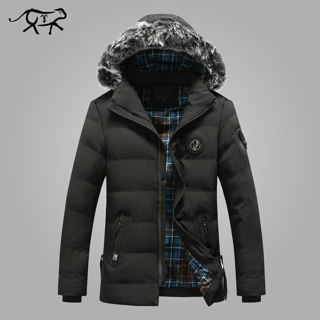 US $43.23 47% OFF|Neue Ankunft Winter Jacke Männer Mode Dicke Warme Pelz Hood herren Parkas Casual Baumwolle Gepolsterte Mäntel Männer Slim Fit marke