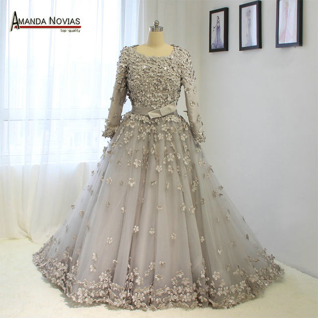 Online Shop NS1372 Full Hand Made Flower Muslim Wedding Dress With ...