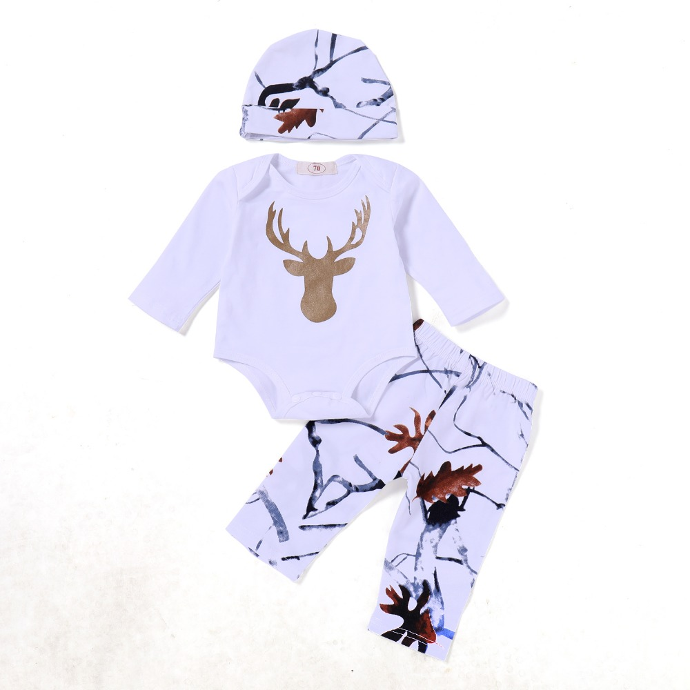 2018 Fall Newborn Baby Clothing 3 Piece Set Christmas Cotton Deer Top Hoodie + Hat + Trousers Boys Girl 3 Piece Set Clothing