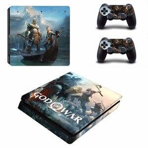 Image 5 - God of War 4 PS4 Slim skóry naklejka naklejka do kontrolera Dualshock PlayStation 4 konsola i 2 kontrolery PS4 Slim skórki naklejki ścienne winylowe