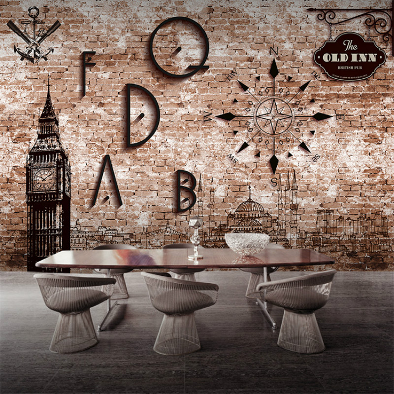 3D wallpaper for wall 3d Custom retro  wallpaper pattern perspective brick cafe restaurant cafe bar KTV large mural 3D wallpaper free shipping 3d retro motorcycle wallpaper leisure bar ktv cafe restaurant tv sofa background armor rider brick wallpaper mural