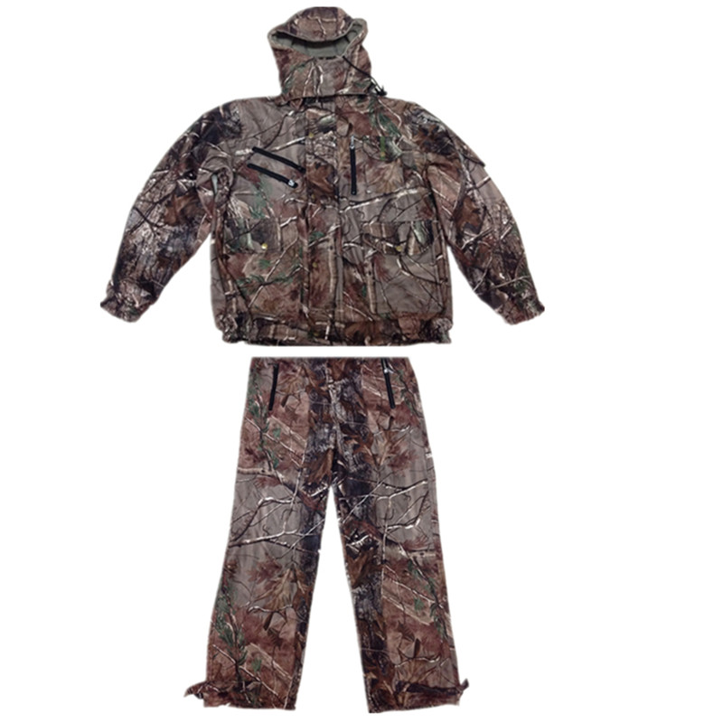 Multi-pocket winter plus velvet suit bionic camouflage hunting clothes camouflage ghillie suit waterproof breathable zipower pm 5149