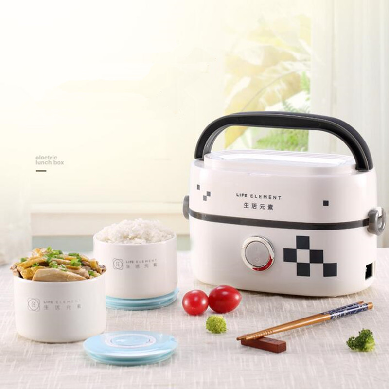 220V Multifunctional Electric Heating Lunch Box Mini Electric Rice Cooker Single-layer Insulation Heating With Ceramic 1 3l portable electric lunch box double layer insulation food cantainer pluggable heating boiled mini steamed rice cooker