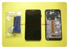 Wyieno 100% ทดสอบเซนเซอร์สีดำสำหรับ Alcatel Pixi 4 5.5 OT5012 Touch Screen Digitizer จอแสดงผล LCD Full ASSEMBLY กรอบ