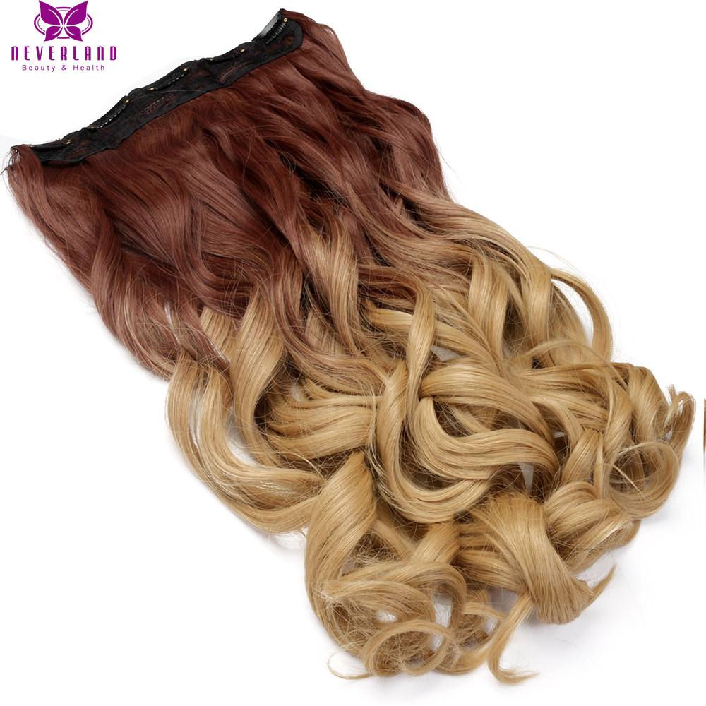 "Neverland 24"" Long Curly High Temperature Fiber Women Hairpieces 30#/25# Ombre Synthetic Clip In One Piece Hair Extensions"