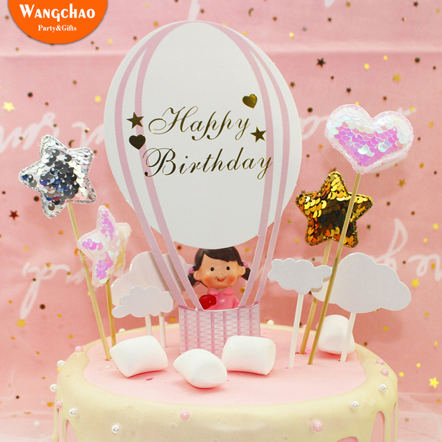 Pink Balloon Cloud Happy Birthday Party Decorations Adult Kids Dessert Children Cake Topper Cupcake Paper Baby Shower Girl Boy