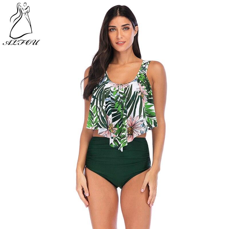 2019 New Women Bikinis Split Ruffled Print High Waist Large Size Swimsuit Multicolor Explosions Chest Pad Bikini Mujer Swimwear