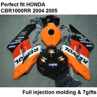 Motorcycle unpainted bodywork fairing kit for Honda CBR1000RR 04 05 orange black fairings set CBR 1000RR 2004 2005 CY02