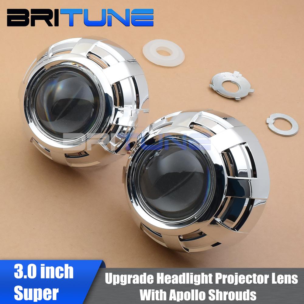 Bi-xenon HID Projector Headlight Lenses Upgrade 3.0'' Super H1 Xenon Lens For H7 H4 Cars Accessories Retrofit DIY Style LHD RHD