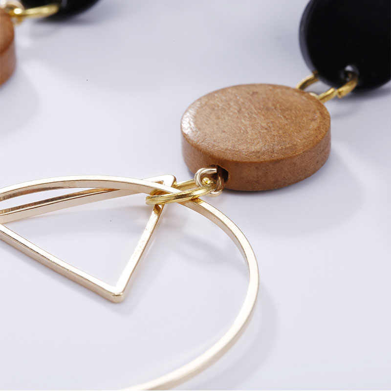 Natural Wood Earring Wooden Earrings For Women Exaggerated Statement Geometry Round Long Stud Earrings Girls Fashion Jewelry