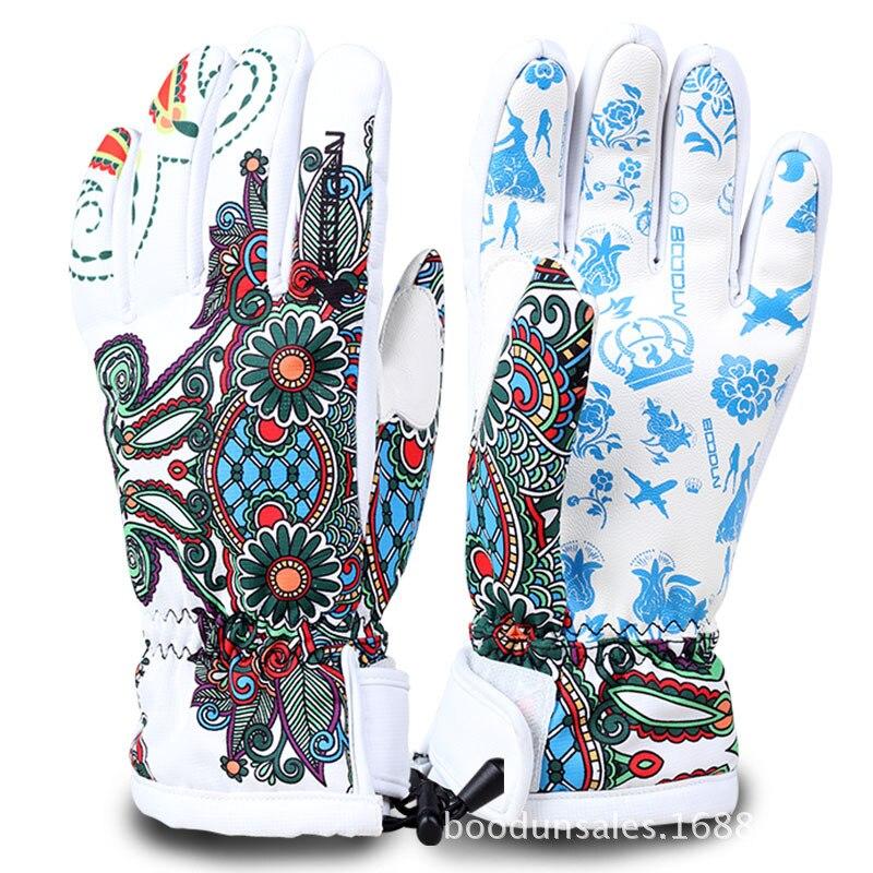 New Winter Ski Gloves Flowers Windproof Breathable Snowboard Gloves Outdoor running Sports Women Men Child running Skiing Gloves