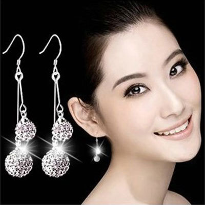 925 sterling silver new Jewelry ball earrings long section of female models cute earrings fashion wild super flash retro crystal