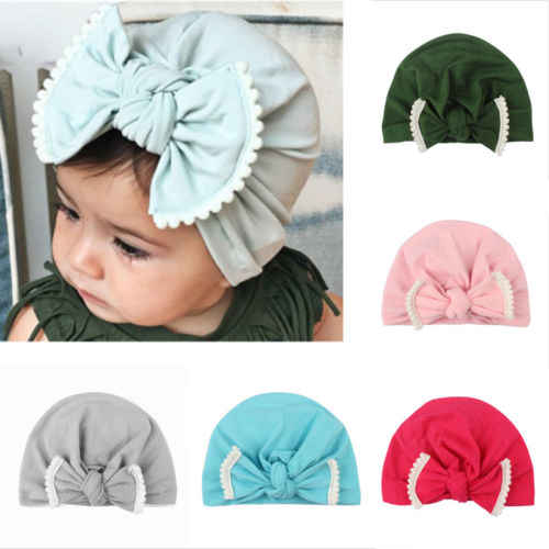 Baby Toddler Girls Boys Infant Warm Winter Bow Tie Knit Beanie Hat Crochet Ski Ball Cap