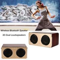 Mini Fashion design Retro Wood Wireless Bluetooth Speaker Portable HiFi Speaker Bluetooth 3D Dual Loudspeakers USB Charging