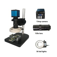 Blue Full set 2 in 1 13MP HMID VGA outputs Industrial Microscope Camera with 56 Led stand  for PCB /LAB test phone repairing 3 in1 hd 800 line 1600 1200 industry microscope camera 2 0mp vga usb cvbs av tv outputs camera set with power supply adapter