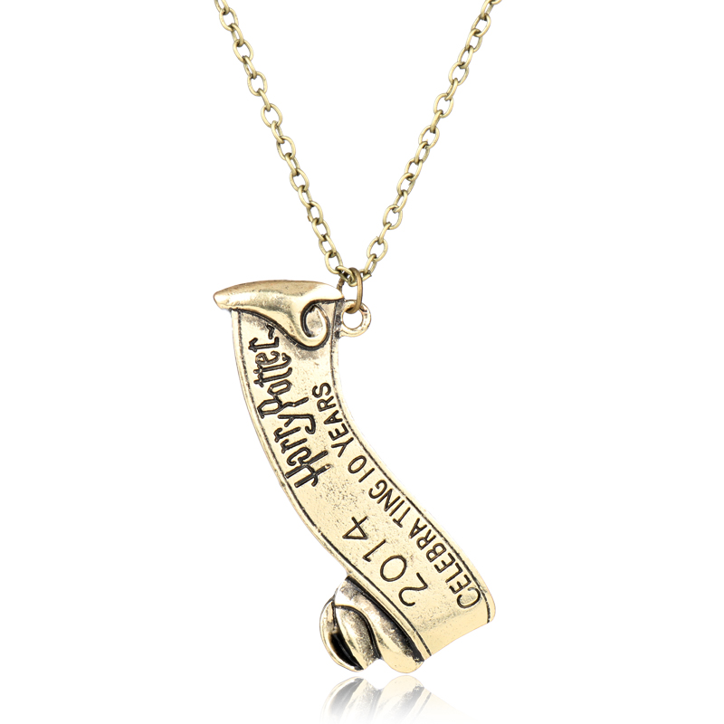 dongsheng Movie HP <font><b>Hogwarts</b></font> School Badge <font><b>Necklaces</b></font> Vintage Pendant <font><b>Necklaces</b></font> for <font><b>Unisex</b></font> Jewelry -30 image