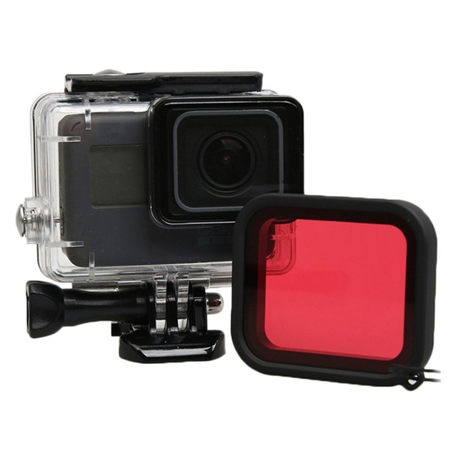 Go Pro Accessorie For GoPro HERO5 HERO 5 30m Waterproof Housing Protective Case + Red Quadrate Filter W/ Basic Mount & Screw