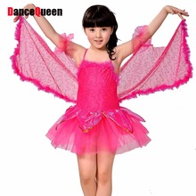 Girl Stage Costumes For Dance Rose/Yellow/White Butterfly Wings Dresses For Dancing Children Latin Dress Cha Cha/Ballroom Skirts