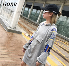 2017 newest hot sales Autumn Women black grey Long Sleeves Letters printed stitching hooded Sweatshirts Girls Pullovers Tops